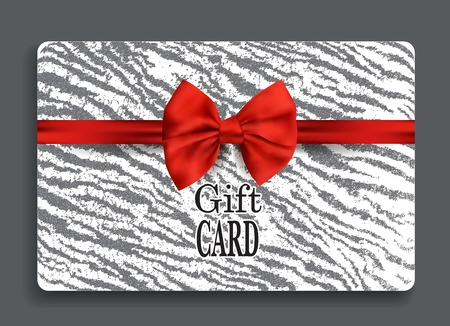 Gift card with zebra background and red silk ribbon Illustration