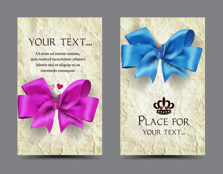 Elegant cards with silk bows and old paper background Illustration