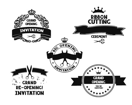 metal cutting: Black grand opening emblems Illustration