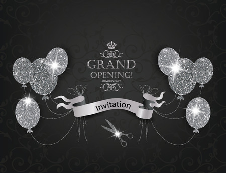 opening: Elegant VIP Invitation cards with abstract air balloons, scissors and silver ribbon