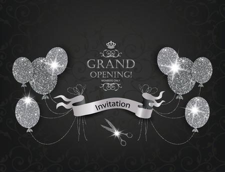 Elegante kaarten VIP Uitnodiging met abstract luchtballons, schaar en zilveren lint Stock Illustratie