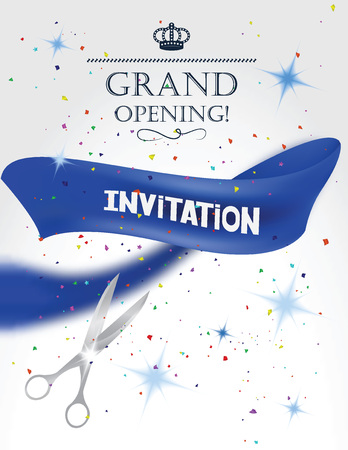 Grand opening card with blue ribbon, scissors and confetti