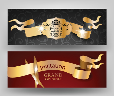 Grand opening invitation cards with gold ribbons and scissors Illusztráció