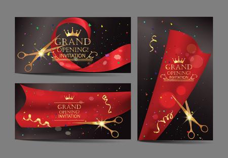 Conjunto de banderas de la gran inauguración con cintas de color rojo y tijeras de oro
