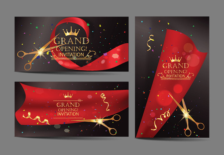 Set of grand opening banners with red ribbons and gold scissors