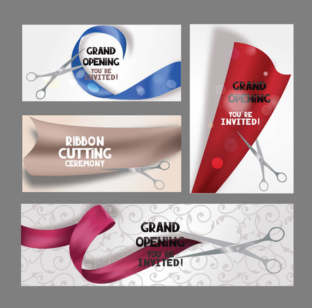 ceremony: Set of grand opening cards with scissors and colorful ribbons