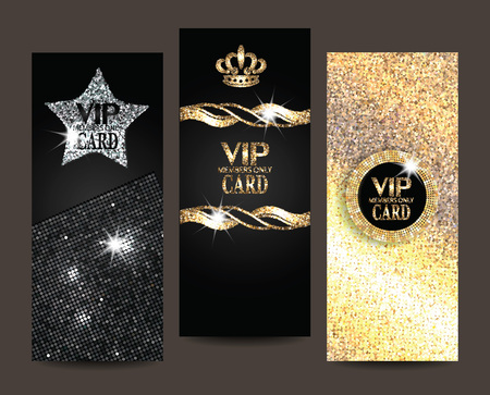 Set of shiny VIP cards