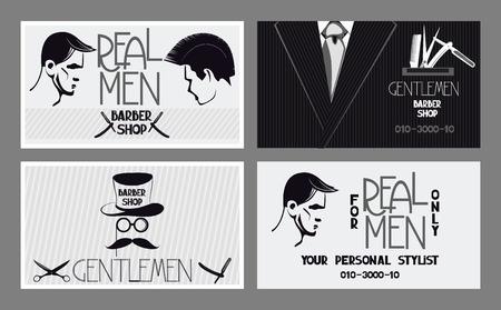presentation card: For men barbershop business cards Illustration