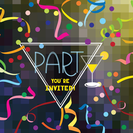 ticker: Colorful PARTY invitation card with cocktail, confetti and ticker tapes Illustration