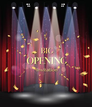 Escenario con cortinas rojas y equipos de luz. abertura grande Ilustración de vector