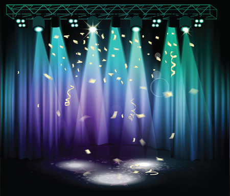 Stage with confetti, curtains and light equipment 向量圖像