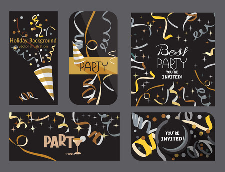 event party festive: Set of dark holiday cards with confetti and ticker tapes