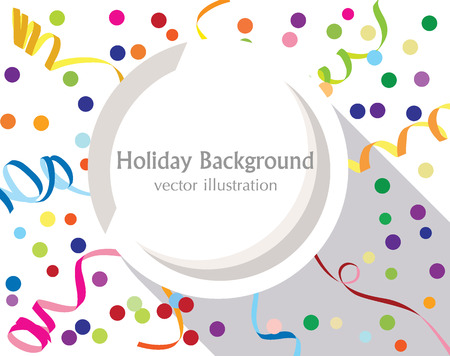 ticker: Flat holiday background with colorful confetti and ticker tapes