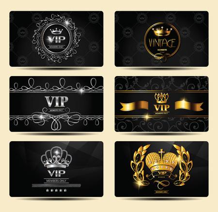 Conjunto de tarjetas de cosecha de oro y plata tarjetas con elementos de diseño floral