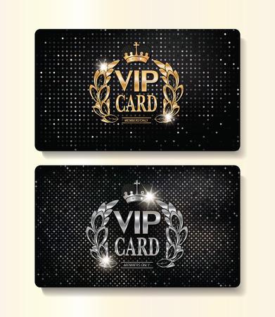 花のデザイン要素と王冠の金と銀の VIP カード