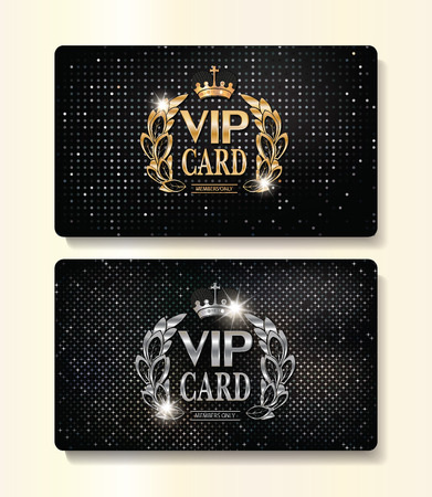 Gold and silver VIP cards with floral design elements and crown Çizim