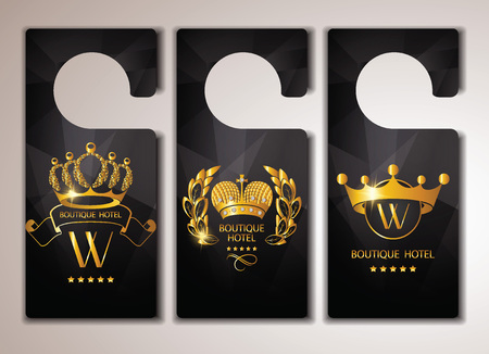 crown logo: Set of gold boutique hotel door tags