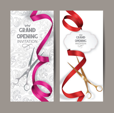 Beautiful grand opening invitation cards with red and pink silk ribbons and floral background
