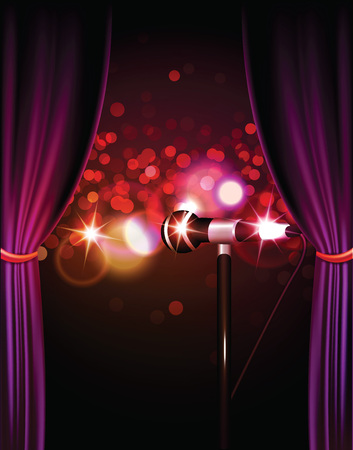 Stage with curtains and lights and microphone