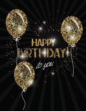 Bannière Joyeux anniversaire avec des ballons d'air d'or abstrait Banque d'images - 55365002