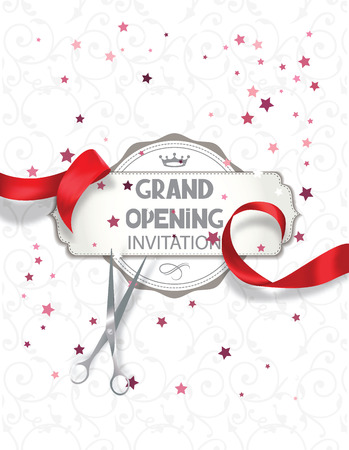 Grand opening invitation card with red silk ribbon and scissors Vectores