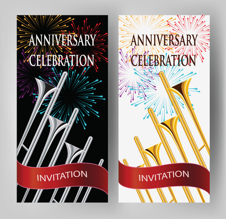 celebration card: ANNIVERSARY CELEBRATION INVITATION CARD WITH TRUMPETS AND FIREWORKS