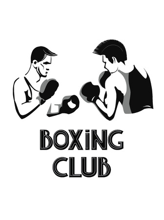 Two boxing young men. Black and white vector illustration