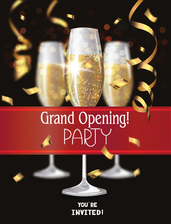opening: Grand Opening invitation card with glasses of champagne and red ribbon
