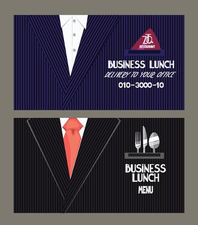 Zakelijke lunchmenu en brengservice kaarten Stock Illustratie