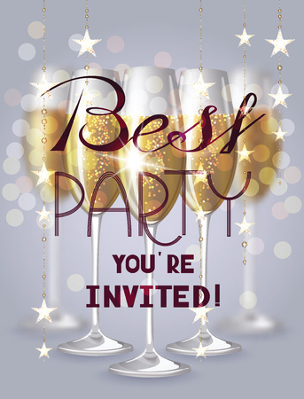 best party: Best party invitation card with glasses of champagne and garlands