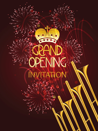 Grand opening vector illustration with trumpets and firework