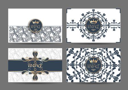 Set di eleganti carte d'epoca con elementi di disegno floreale Archivio Fotografico - 55365242
