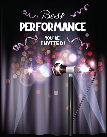 Poster with curtains, microphone and lights Illustration