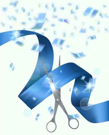 Blauwe achtergrond met een schaar lint en confetti. Feestelijke opening uitnodigingskaart