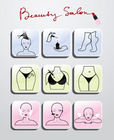 Beauty salon set of icons Vettoriali