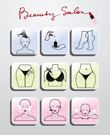 Schoonheidssalon set van pictogrammen Stock Illustratie