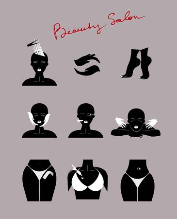 icônes de salon de beauté mis