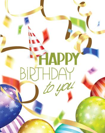 tarjeta de felicitación del cumpleaños con globos de colores de aire, las pantallas informativas, confeti y sombrero de fiesta Ilustración de vector