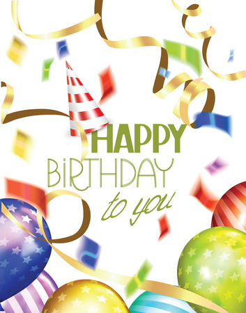 Birthday greeting card with colorful air balloons, ticker tapes, confetti and party hat Vectores