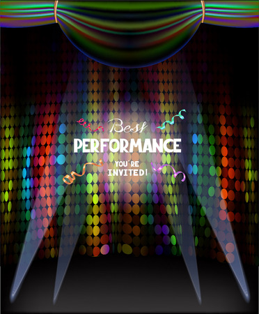 Colorful stage curtains and flying ticker tapes. Vector illustration