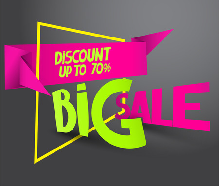 Big sale banner with abstract frame. vector illustration