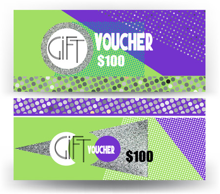 Gift vouchers with colorful modern geometric design and metallic texture. Vector illustration