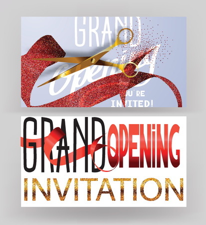 Grand opening cards with stippling red ribbons and gold scissors