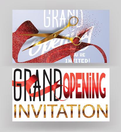 tarjetas de gran apertura con cintas de color rojo punteado y tijeras de oro