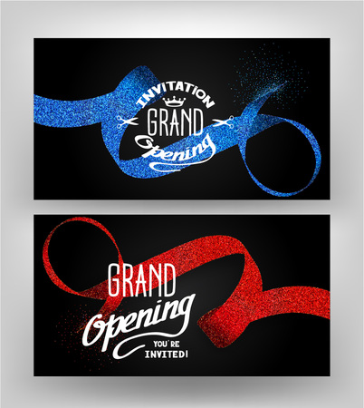 Grand opening cards with stippling ribbons on the dark background