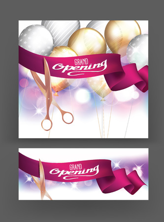 commemorate: Grand opening cards with scissors, red ribbon and bokeh background