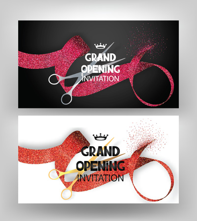 Grand opening cards with stippling ribbons and gold and silver scissors