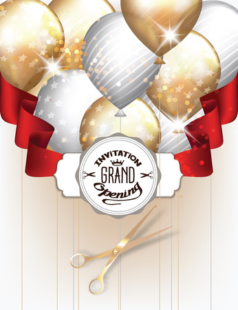 Grand opening invitation card with gold and silver balloons with red ribbon and scissors