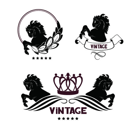 hooves: Horse head and front hooves, vintage floral design elements, crown. Vector  emblems Illustration