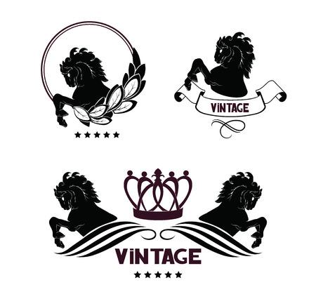 Horse head and front hooves, vintage floral design elements, crown. Vector  emblems Illustration